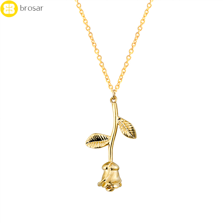 14k Gold Chains Rose Flower Necklace Women Charm Costume Jewelry Rose Necklace