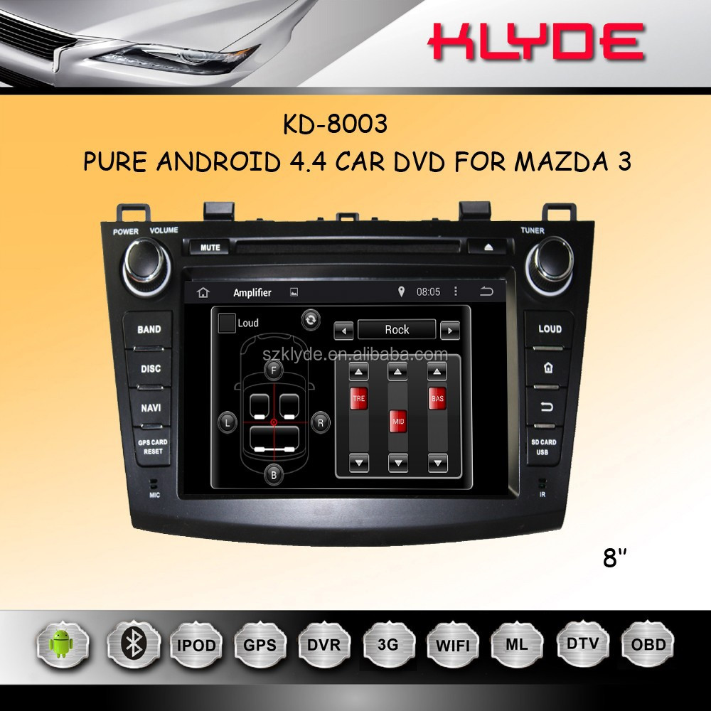 ANDROID 4.4.4 QUAD CORE 16GB 1024*600 MIRROR LINK REAR MONITOR SUPPORT mazda 3 in dash car dvd gps system