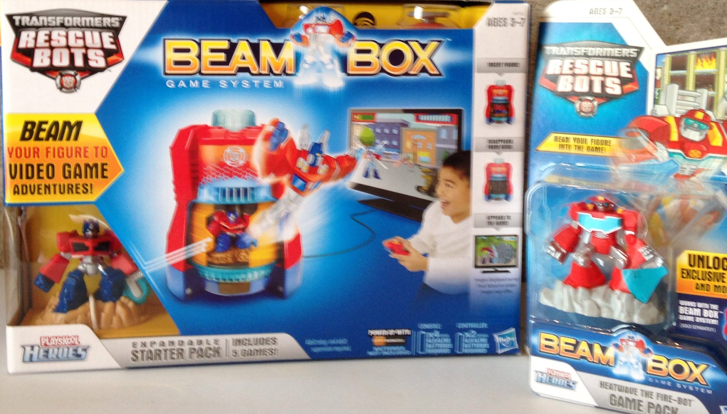 Playskool Heroes Transformers Rescue Bots Beam Box Game System Bundle Including Heatwave Rescue Bots Game Pack