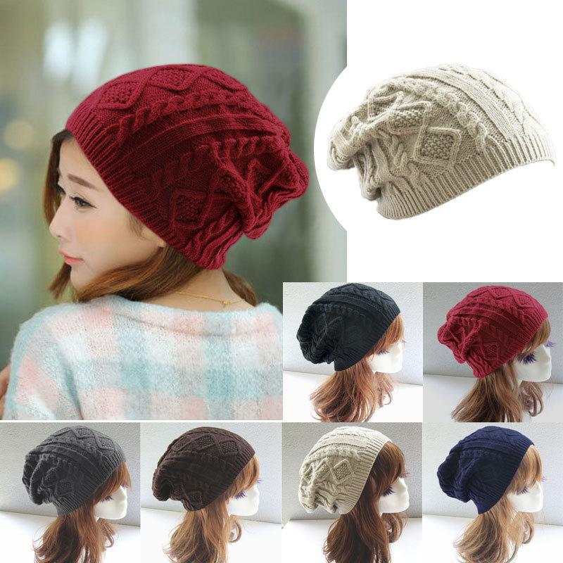 Twist Pattern Women Winter Hat Knitted Sweater Fashion beanie Hats ...