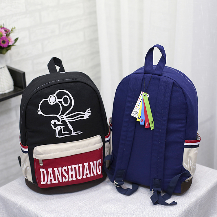 High quality fashion leisure custom print canvas school bags day backpacks made in china