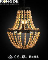 8bulbs warm coffee color wooden beads chandelier
