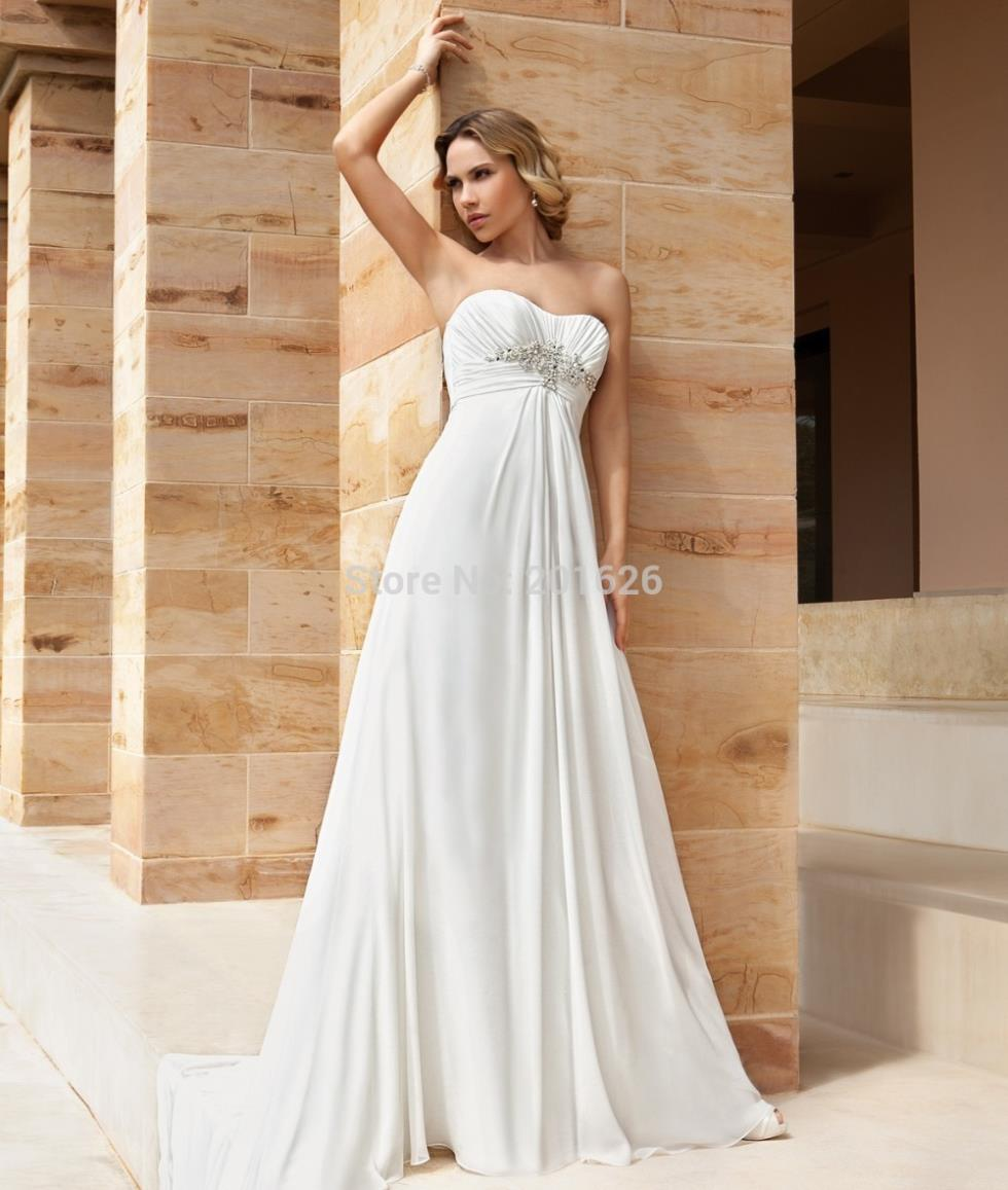 Simple And Decent Beach Wedding Dress With Romantic