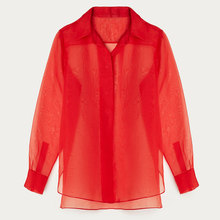 New fashion ladies silk blouse ladies top sexy silk organza open blouse