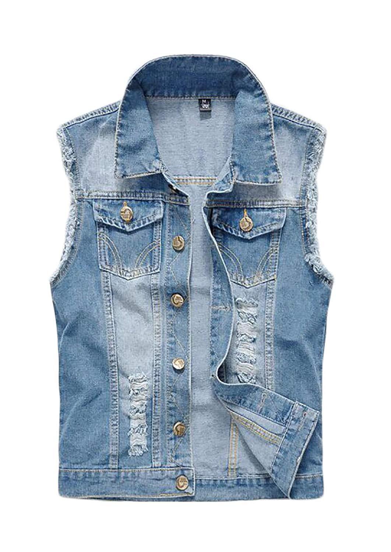 8c1eb61797895 Get Quotations · Jofemuho Men Ripped Distressed Distressed Sleeveless Denim  Vest Sleeveless Jean Jacket Coat
