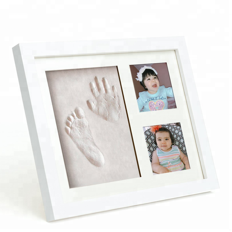 12 Months Photo Frame Kit Newborn Baby Handprint Footprint Keepsake Picture Frame My First Year Baby Photo Frame White