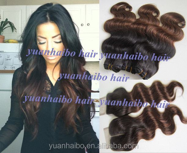 New fashion! Body Wave Ombre Hair Bundles 3PCS with 1PCLace Closure Two Tone color bleached knots 4PCS/lot