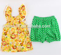 New boutique casual yellow top pattern sunflower baby print t-shirt green shorts bloomers for kids wholesale clothing set