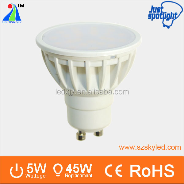 2700K 500LM SMD 2835 dimmable gu 10 led 5w <strong>spotlight</strong>