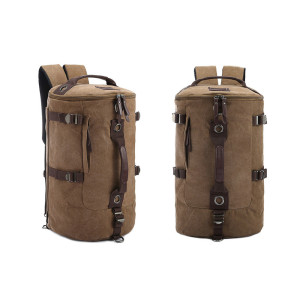 Canvas barrel mountaineering bag,cotton mountain back pack bag, branded bucket shoulder backpack travel bag