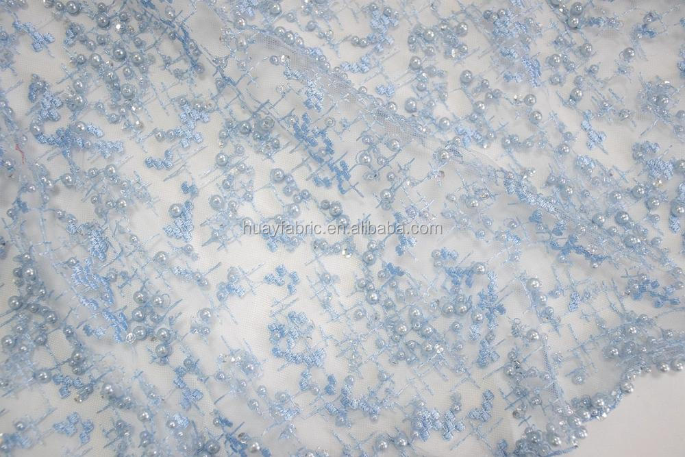 Hot sale luxury french tulle lace fabric with full pearls and sequins sky blue beaded lace for bridal wedding dress HY0617