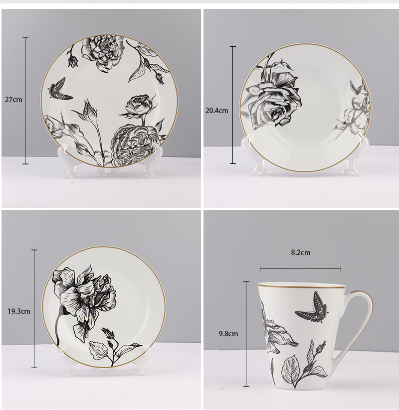 Großer Produktionsbasislieferant Durable Custom Porcelain Dinner Set Stock