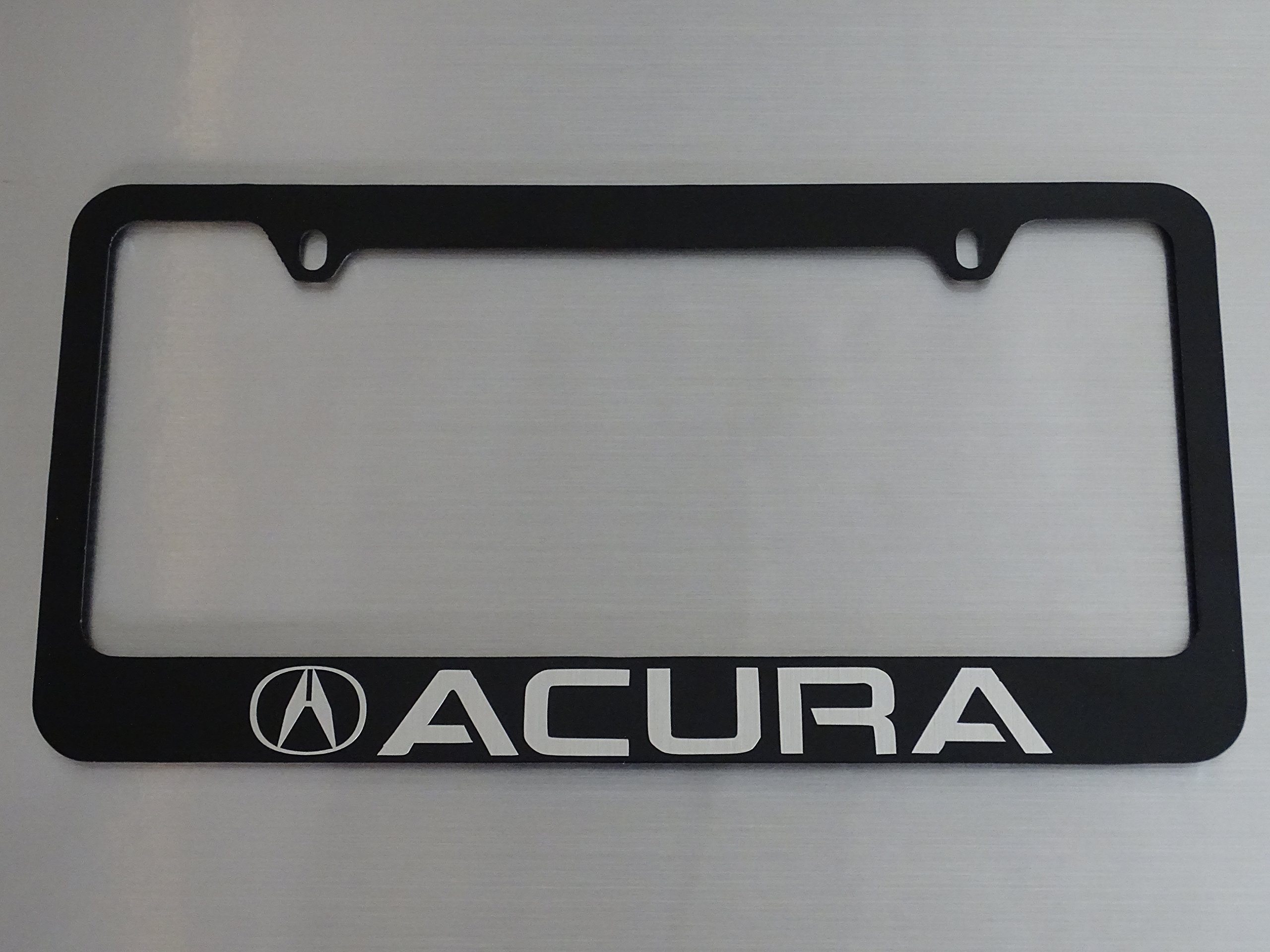 Acura license plate frame, glossy black metal, Brushed aluminum text