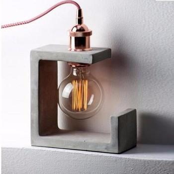 concrete table lamp. Decorative European Table Cement Concrete Lamp Base ,