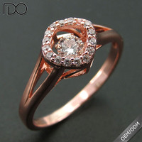 High quality promotion dancing diamond 925 b sterling silver ring