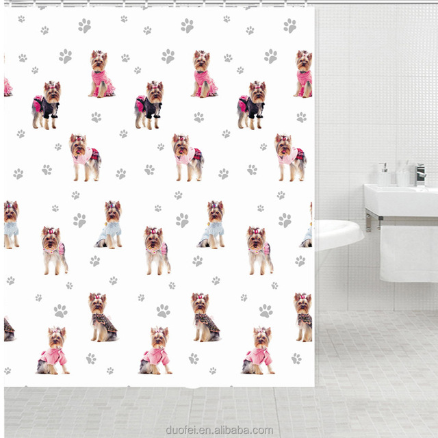 Recycled Printed Cute Dog Shower Curtain