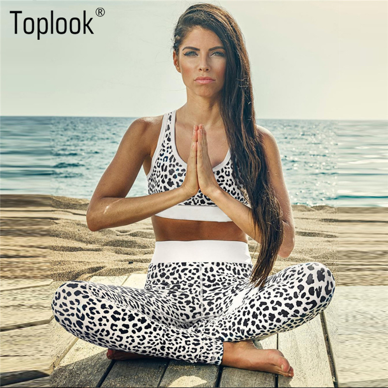 Toplook Leopard Print Yoga Set Sport Leggings Sport-Bh-Sets Fitness Leggings Sexy Gym Tragen Sport S126