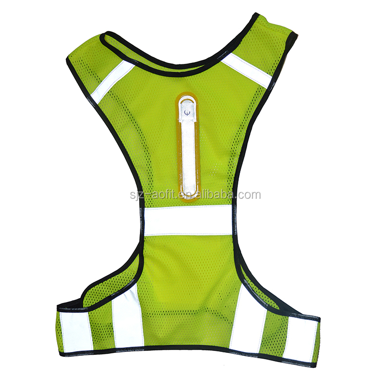 Sports Night Cycling Running Traffic Safety Warning  Reflective Safety Jacket Or Vest With LED lights