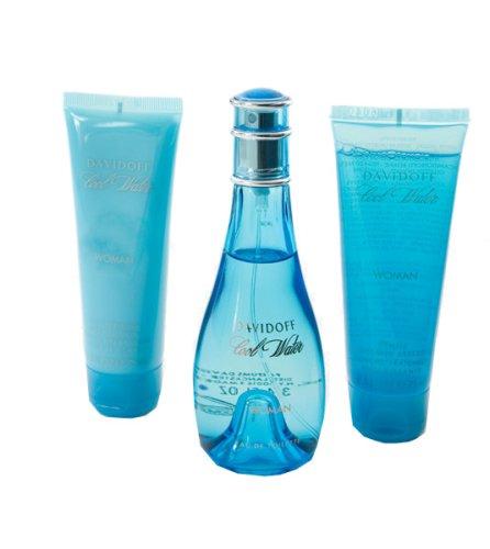 Cool Water By Davidoff Gift Set -- 3.4 Oz Eau De Toilette Spray + 2.5 Oz Body Lotion + 2.5 Oz Shower Breeze For Women