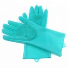 Reusable Eco-friendly Scrubbing Cleaning Silicone Dishwashing Gloves