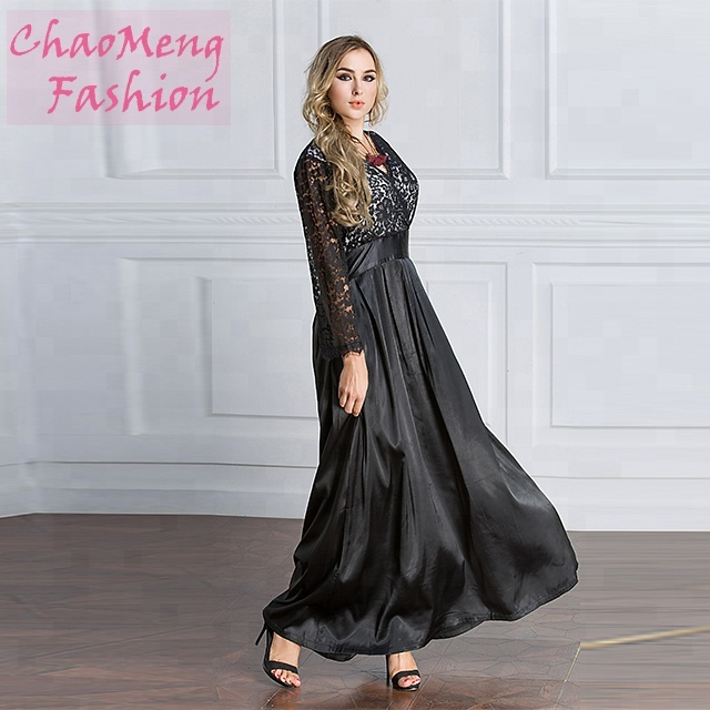 6016#Muslim lace mesh fabric long sleeve v-neck maxi dresses, As shown