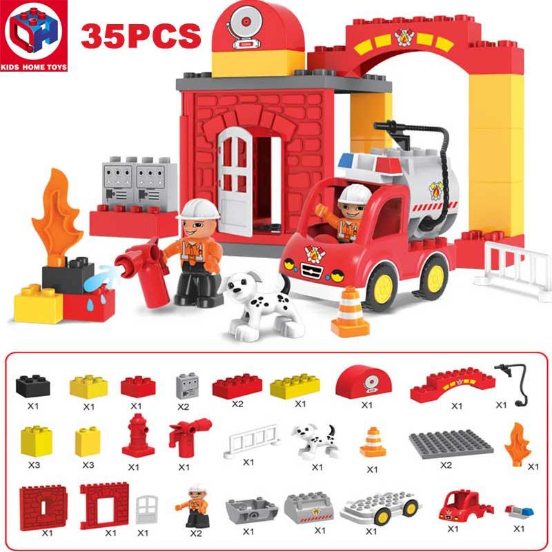 Kid's Home Toys City Fire Station Fire Engine Duploe Large Size Building  Blocks Fireman Figures Large Particle Compatible Duploe