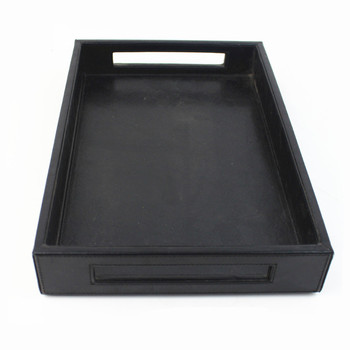 Faux leather desk drawer organizer tray , granite candy serving trays with compartments