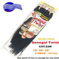 "crochet twist senegal twist 18""20""22"" 200gr full value pack, Synthetic hair afro twist braid"