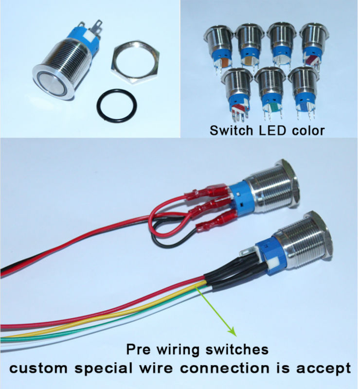 high quality stainless steel diameter 19mm 12v red led push button rh alibaba com On Off Push Button Switch led indicator push button switch wiring