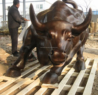 bronze cast small size wall street bull sculpture for direction