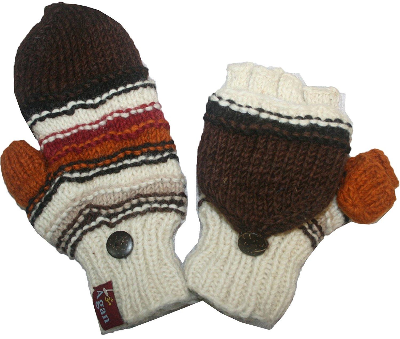 7cd4aed0cac Get Quotations · 1407 Agan Traders Himalayan Sheep Wool Fleece Hand Knitted  Naubala Mitten Glove
