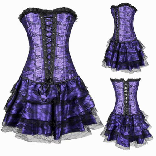 2015 Hot Sale Body Shaper Dress Women Waist Training Corsets Sexy Lace Gothic Clothing Overbust Steampunk Corset Dress