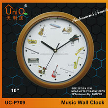 Plastic music/hourly chiming round wall clock