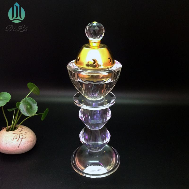 Fabricante Atacado Portátil Oriente médio Arábia Árabe Artesanal K9 Vidro Cristal Buddha Queimador de Incenso