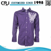 Custom Woven Fabric Embroidered Dress Shirt Men