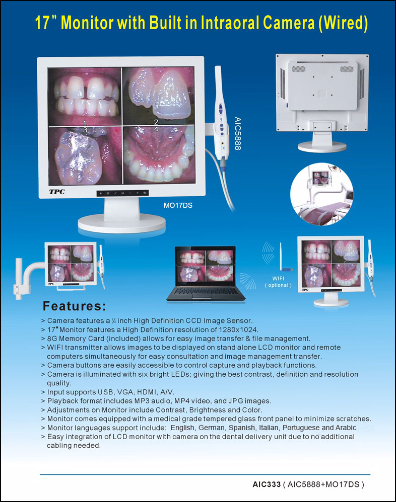 "All in one 17"" monitor with build in intraoral camera"