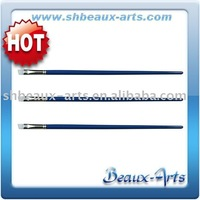 White synthetic angular Oil painting pen with Long, blue lacquered handle