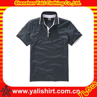 Professional cheap short sleeve plain stripe 100 polyester polo shirts men big size clothing