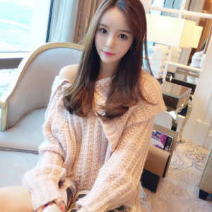 New products for spring and fall 2019 fashion chunky stock wool knitted off-the-shoulder sweater lady Mohair medium dress