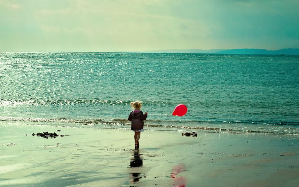 Sunrise beach sand sea photography kids children balloons little girl  4 Sizes Wall Decor Canvas  Poster Print