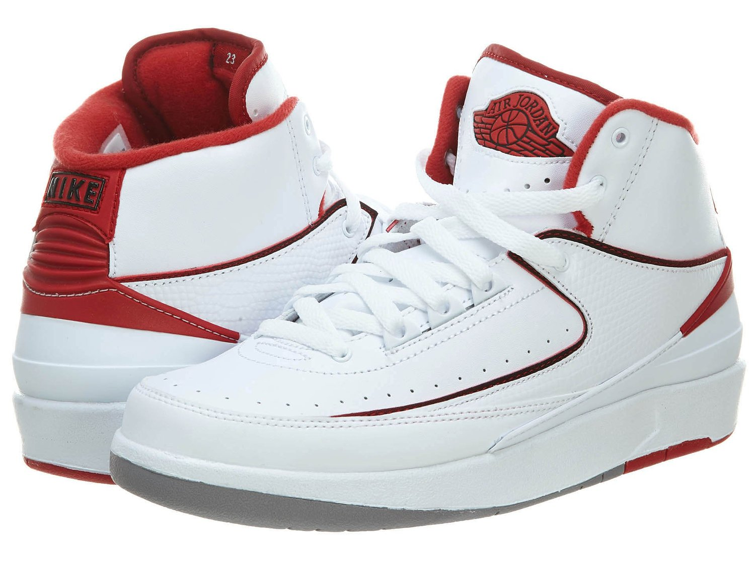 81d1f3f4a2a0fa Get Quotations · Air Jordan 2 Retro BG White Black-Varsity Red-Cement Grey  (6Y
