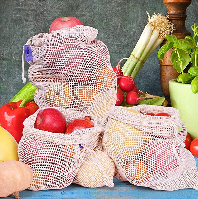Eco Friendly Polyester Small Drawstring Net Fruit Vegetable Mesh Bags
