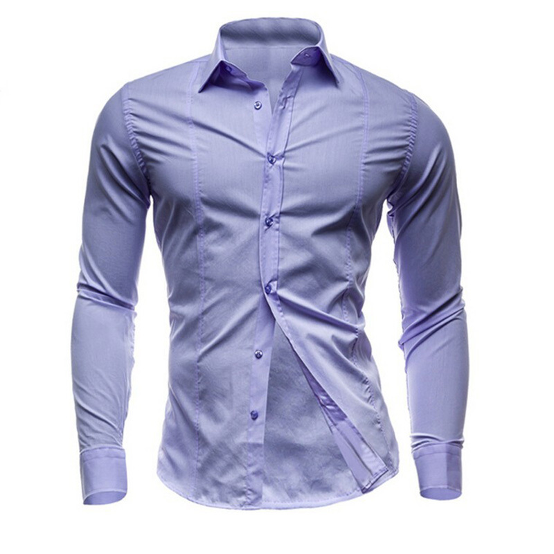 f5eae3dc Get Quotations · Men Dress Shirt Long Sleeve Fashion Camisa Masculina 2015  Autumn Slim Fit Business Formal Solid Color