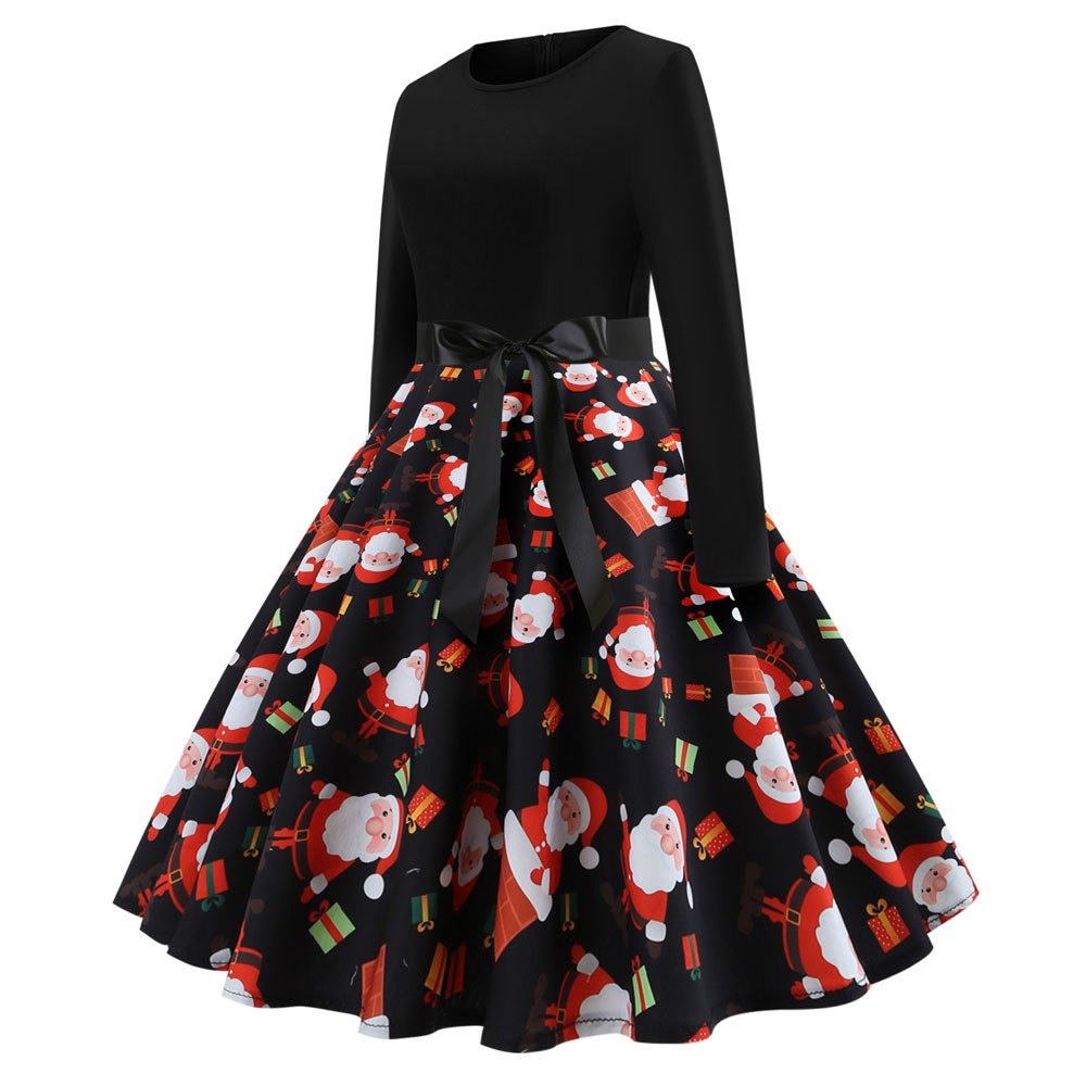 Women `s Vintage Print Long Sleeve Dresses Female Christmas Casual Party  Swing Dress Daily elegant plus size clothes robe femme 784f66af0dd1