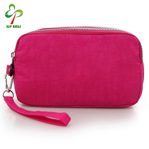 Fashion wholesale popular design women ladies big capacity compartments mobile cell phone wallet hot pink
