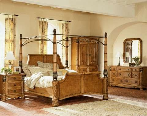 Exotic Pecan Queen Canopy Bedroom Set