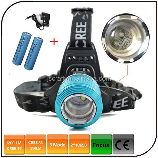 1200 lumen dimming two light source in one housing headlamp cree xml T6 LED 3 Mode Waterproof Focus Front HeadLight