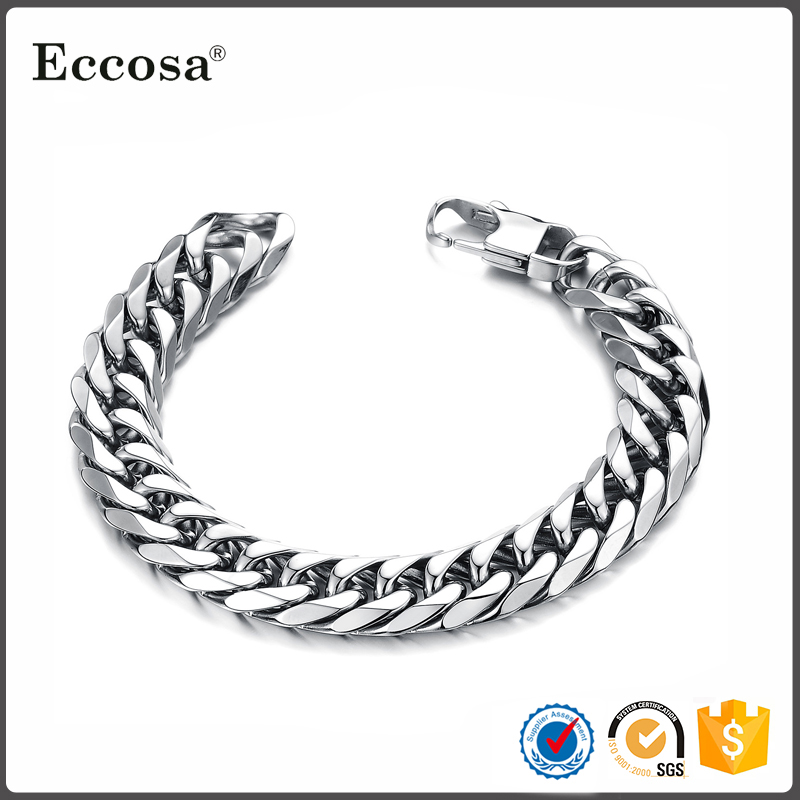 Fashion Wholesale Jewelry Square Buckle Chain Link Bracelet Stainless Steel Mens Bracelets