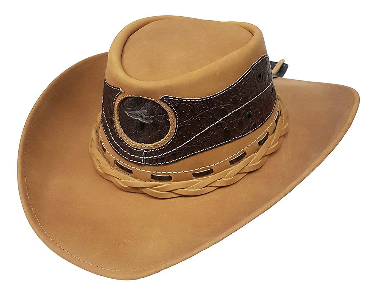 Get Quotations · Modestone Unisex Leather Cowboy Hat Leather Crocodile Skin  Pattern Applique Tan fe53418f6e2a