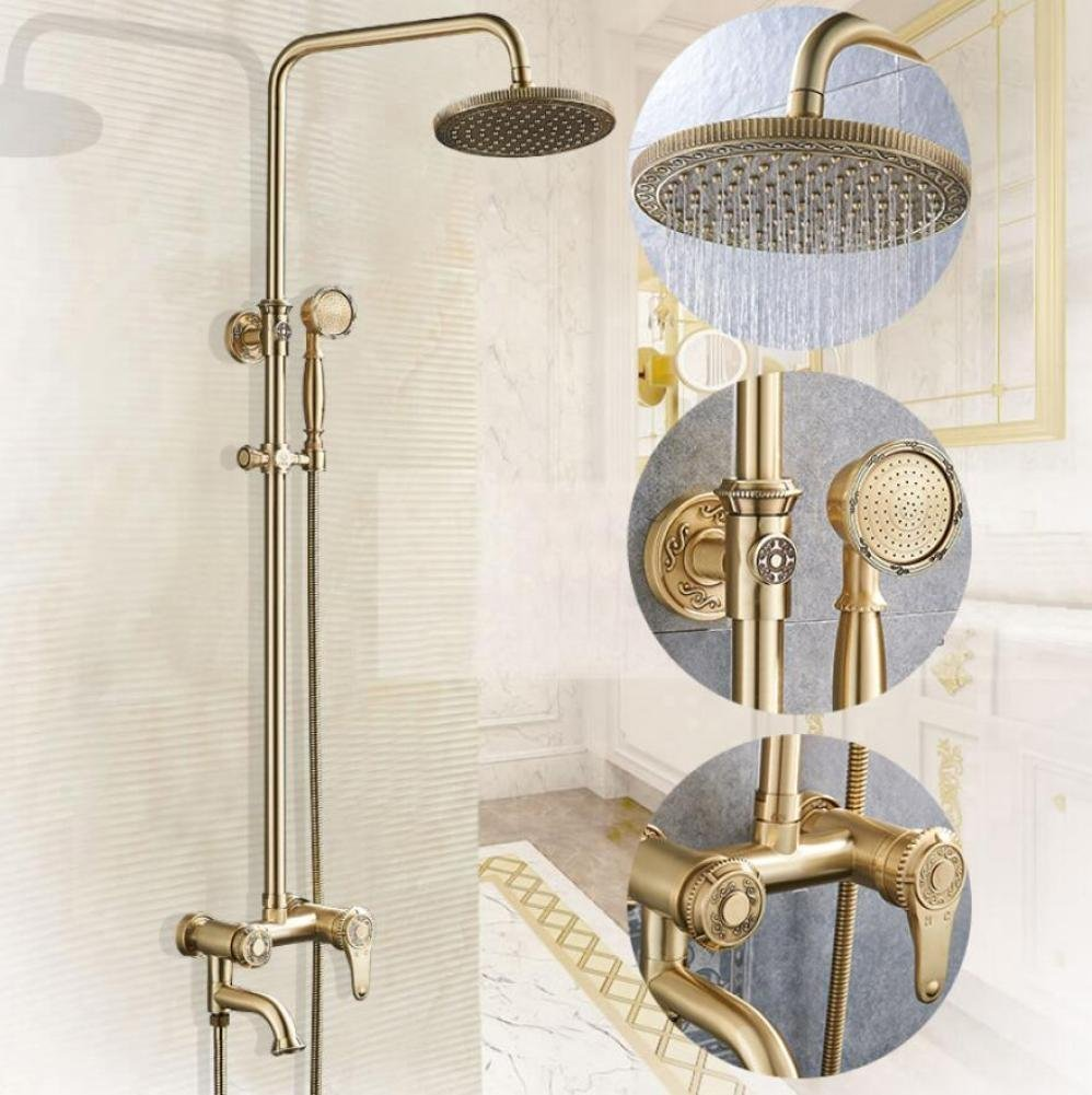 All Bronze Luxurious Carved Rain Shower Wall Mounted Shower System  Combination Rain Shower + Hand Shower